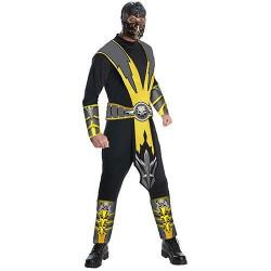 Fantasia Adulto Masculina Scorpion Mortal Kombat Clássica Amarela