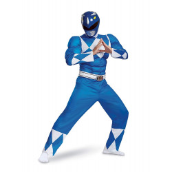 Fantasia Adulto Power Rangers Azul Luxo