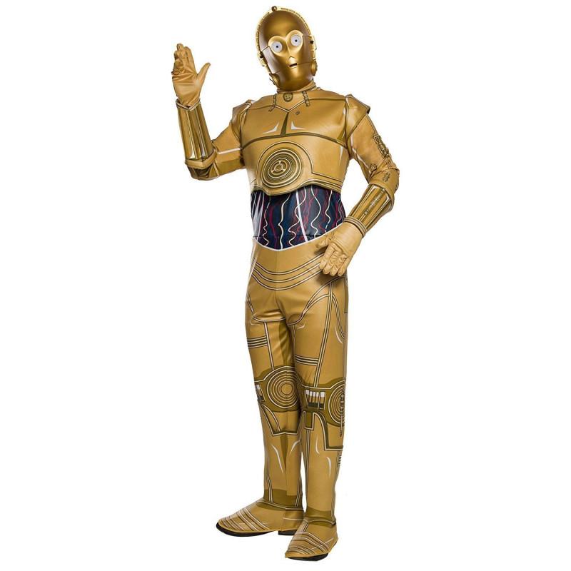 3ed6a48d11ef5 Fantasia C-3PO Robô Star Wars VIII Adulto Luxo