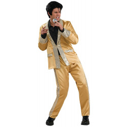 Fantasia Elvis Presley Dourada Adulto Luxo