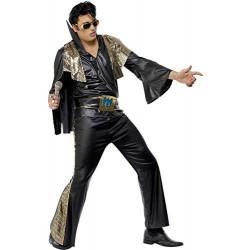 Fantasia Elvis Presley Preta Adulto Luxo