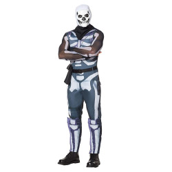 Fantasia Fortnite Skin Skull Trooper Aduto Luxo