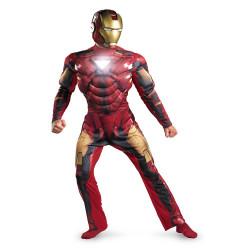 Fantasia Homem de Ferro Adulto Luxo com Luz no Peito