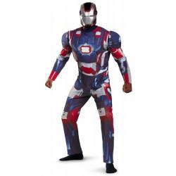 Fantasia Homem de Ferro Adulto Luxo com Músculos Patriot