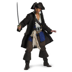 Fantasia Jack Sparrow Piratas do Caribe Adulto Luxo GGG