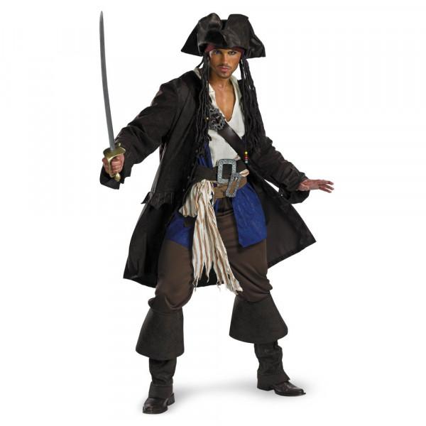 Fantasia Jack Sparrow Piratas do Caribe Adulto Luxo GGG