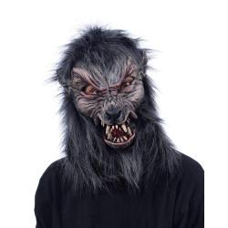 Máscara Lobo Lobisomem Adulto Luxo Preta