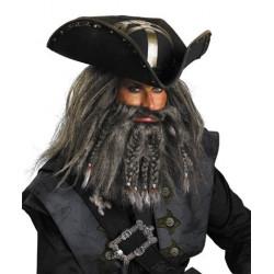 Peruca e Barba do Pirata Barba Negra Piratas do Caribe