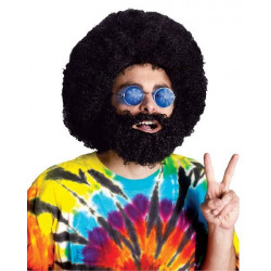 Peruca e Barba Preta Hippie anos 70