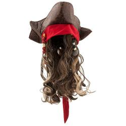 Peruca Jack Sparrow Pirate Chapéu e peruca Luxo Infantil