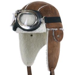 Touca e Óculos Aviador Marrom Luxo