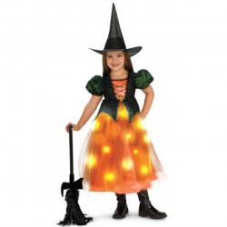 Fantasia Bruxa Bruxinha Cintilante com Luzes