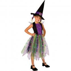 Fantasia Infantil Bruxa Arco-Iris Com Luzes