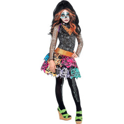 Fantasia Infantil Monster High Skelita Calaveras Luxo