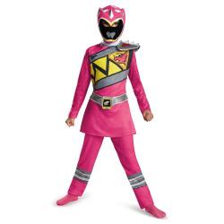 Fantasia Power Rangers Dino Charger Infantil Rosa Clássica