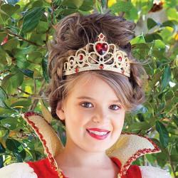 Tiara Coroa Dourada e Vermelha Rainha de Copas Infantil Luxo
