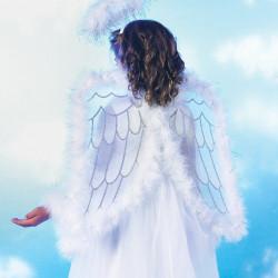 Fantasia Asa Infantil Anjo Celeste Branco Luxo