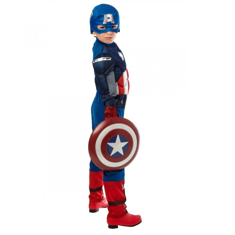 fc04dc19542 Fantasia Capitão América Infantil Músculos Escudo Luxo