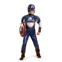 Fantasia Capitão América Infantil Músculos Luxo