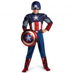 Fantasia Capitão América Músculos e Luz Infantil Luxo