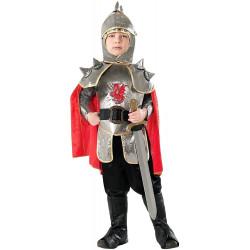 Fantasia Cavaleiro Guerreiro de Prata Infantil Luxo