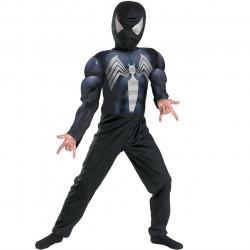 Fantasia Infantil Homem Aranha Preto com Músculos Luxo
