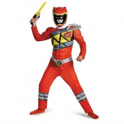 Fantasia Power Rangers Dino Charger Vermelho Infantil Luxo