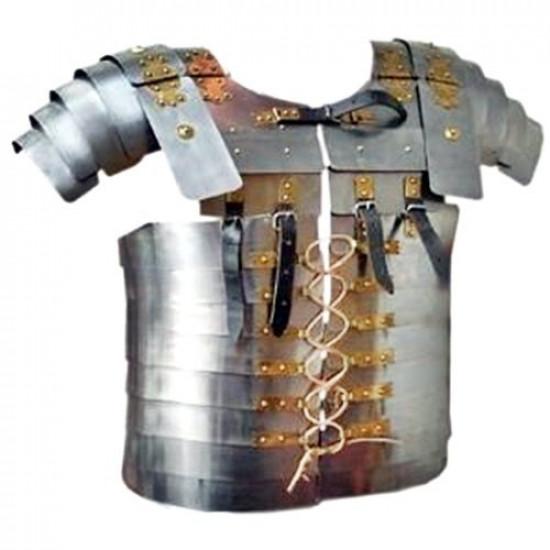 Armadura Medieval Grego Romano Prateado Metal Colecionador