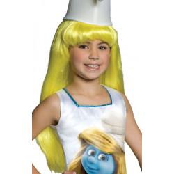 Peruca Infantil Smurfete Amarela do Smurfs Luxo