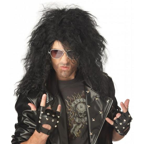 Peruca Rockstsar anos 80 Masculina Preta
