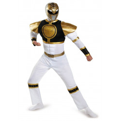 Fantasia Adulto Power Rangers Mighty Morphin Branco Luxo