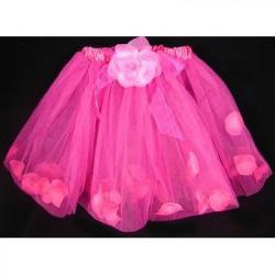 Fantasia Infantil Tutu de Tule Floral Pink